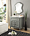 "34"" Single Sink Victorian Cottage Style Bathroom Vanity Vintage Grey Finish with White Marble Counter Top"