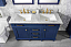 "54"" Double Sink Vanity Cabinet Blue Finish with Carrara White Top"