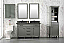 """54"""" Double Sink Vanity Cabinet Pewter Green Finish with Blue Limestone Top"""