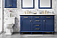 """60"""" Double Sink Vanity Cabinet Blue Finish with Carrara White Top"""