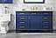 "60"" Single Sink Vanity Cabinet Blue Finish with Carrara White Top"
