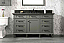"""60"""" Single Sink Vanity Cabinet Pewter Green Finish with Blue Limestone Top"""
