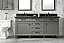 """72"""" Double Sink Vanity Cabinet Pewter Green Finish with Blue LimestoneTop"""