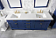 "80"" Blue Double Sink Vanity Cabinet with Carrara White Quartz Top"