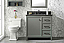 """36"""" Blue Finish Sink Vanity Cabinet with Carrara White Top and Color Options"""