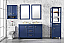 """54"""" Blue Finish Double Sink Vanity Cabinet with Carrara White Top"""