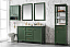 """54"""" Vogue Green Finish Double Sink Vanity Cabinet with Blue Lime Stone Top"""