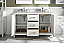 """54"""" White Finish Double Sink Vanity Cabinet with Carrara White Top"""
