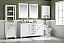 """60"""" White Finish Double Sink Vanity Cabinet with Carrara White Top"""