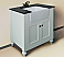 "30"" Matte White Finish Single Sink Vanity Cabinet with Black Granite Top"
