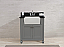 "30"" Gray Finish Single Sink Vanity Cabinet with Black Granite Top"
