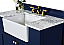 """36"""" Bath Vanity Set in Heritage Blue with Italian Carrara White Marble Vanity Top and White Undermount Basin with Gold Hardware Prod"""