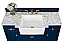 "48"" Bath Vanity Set in Heritage Blue with Italian Carrara White Marble Vanity Top and White Undermount Basin with Gold Hardware"