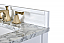 """60"""" Bath Vanity Set in White with Italian Carrara White Marble Vanity Top and White Undermount Basin with Gold Hardware"""
