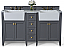 """60"""" Bath Vanity Set in Sapphire Gray with Italian Carrara White Marble Vanity Top and White Undermount Basin with Gold Hardware"""