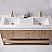 "60"" Double Vanity in North American Oak with White Grain Stone Countertop, No Mirror"