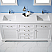 "72"" Double Vanity in White and Composite Carrara White Stone Countertop Without Mirror"