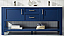 """72"""" Double Vanity in Jewelry Blue and Composite Carrara White Stone Countertop Without Mirror"""