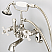 Vintage Classic Adjustable Center Wall Mount Tub Faucet With Swivel Wall Connector & Handheld Shower in Polished Nickel (PVD) Finish With Metal Lever Handles Without Labels