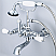 Vintage Classic 7 Inch Spread Wall Mount Tub Faucet With Straight Wall Connector & Handheld Shower in Chrome Finish With Metal Lever Handles Without Labels