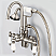 Vintage Classic Adjustable Spread Wall Mount Tub Faucet With Gooseneck Spout, Swivel Wall Connector & Handheld Shower in Brushed Nickel Finish With Metal Lever Handles Without Labels