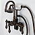 Vintage Classic Adjustable Spread Wall Mount Tub Faucet With Gooseneck Spout, Swivel Wall Connector & Handheld Shower in Oil-rubbed Bronze Finish Finish With Metal Lever Handles Without Labels