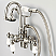 Vintage Classic Adjustable Spread Wall Mount Tub Faucet With Gooseneck Spout, Swivel Wall Connector & Handheld Shower in Polished Nickel (PVD) Finish With Metal Lever Handles Without Labels