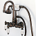 Vintage Classic 3.375 Inch Center Wall Mount Tub Faucet With Gooseneck Spout, Straight Wall Connector & Handheld Shower in Oil-rubbed Bronze Finish Finish With Metal Lever Handles Without Labels