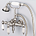 Vintage Classic 3.375 Inch Center Wall Mount Tub Faucet With Down Spout, Straight Wall Connector & Handheld Shower in Brushed Nickel Finish With Metal Lever Handles Without Labels