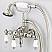 Vintage Classic 3.375 Inch Center Wall Mount Tub Faucet With Down Spout, Straight Wall Connector & Handheld Shower in Polished Nickel (PVD) Finish With Metal Lever Handles Without Labels