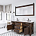 """72"""" Double Sink Blue Limestone Countertop Vanity in Rustic Sierra with Mirror and Faucet Options"""