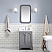 "24"" Single Sink Carrara White Marble Countertop Vanity in Cashmere Grey with Mirror and Faucet Options"