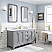"""60"""" Double Sink Carrara White Marble Countertop Vanity in Cashmere Grey with Mirror and Faucet Options"""