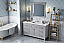 "60"" Grey Bathroom Vanity Single Sink White Carrara Marble Vanity Top, Undermount Rectangle Bowl"