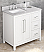 "36"" White Bathroom Vanity Left Offset, White Carrara Marble Vanity Top, Undermount Rectangle Bowl"