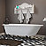 """Cast-Iron Rolled Rim Clawfoot Tub 61"""" X 30"""" with 3 3/8"""" Bathtub Wall Faucet Drillings and British Telephone Style Faucet Complete Chrome Plumbing Package"""