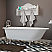 """Cast-Iron Rolled Rim Clawfoot Tub 61"""" X 30"""" with 7"""" Deck Mount Faucet Drillings and English Telephone Style Faucet Complete Polished Chrome Plumbing Package"""