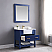 "Issac Edwards Collection 36"" Single Bathroom Vanity Set in Jewelry Blue and Composite Carrara White Stone Top with White Farmhouse Basin without Mirror"