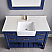 """Issac Edwards Collection 48"""" Single Bathroom Vanity Set in Jewelry Blue and Composite Carrara White Stone Top with White Farmhouse Basin without Mirror"""