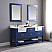 """Issac Edwards Collection 72"""" Double Bathroom Vanity Set in Jewelry Blue and Composite Carrara White Stone Top with White Farmhouse Basin without Mirror"""