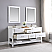 """Issac Edwards Collection 72"""" Double Bathroom Vanity Set in White and Composite Carrara White Stone Top with White Farmhouse Basin without Mirror"""