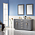 "Issac Edwards Collection 60"" Double Bathroom Vanity Set in Gray and Carrara White Marble Countertop without Mirror"