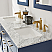 "Issac Edwards Collection 60"" Double Bathroom Vanity Set in Royal Blue and Carrara White Marble Countertop without Mirror"