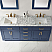 """Issac Edwards Collection 72"""" Double Bathroom Vanity Set in Royal Blue and Carrara White Marble Countertop without Mirror"""