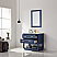 """Issac Edwards Collection 36"""" Single Bathroom Vanity Set in Royal Blue and Carrara White Marble Countertop with Mirror Options"""