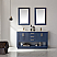 """Issac Edwards Collection 60"""" Double Bathroom Vanity Set in Royal Blue and Carrara White Marble Countertop with Mirror Option"""