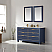 """Issac Edwards Collection 60"""" Double Bathroom Vanity Set in Royal Blue and Composite Carrara White Stone Countertop without Mirror"""