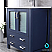"""30"""" Navy Blue Single Vanity, Integrated Top, White Integrated Square Sink and no Mirror"""