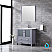 """36"""" Dark Grey Single Vanity, Integrated Top, White Integrated Square Sink and no Mirror"""