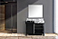 """42"""" Black and Grey Vanity, Castle Grey Marble Top, and White Square Sink"""